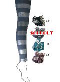 【sale】ラメ幅広ボーダー柄 10分丈スパッツ (エメブルー)SP0185J-28
