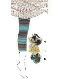 【sale】綿混マルチボーダー柄 7分丈スパッツ (クリーム)SP0175J-12