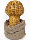 サイドボタン付き 裏地ボア ダウンネックウォーマー(無地 モカブラウン) WNBSA001R-51
