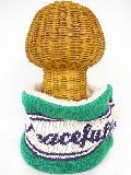 サイドボタン付き 裏地ボア ニットネックウォーマー(PEACEFULLYロゴ グリーン) WNBSA006R-47