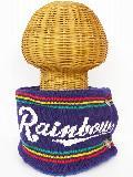 サイドボタン付き 裏地ボア ニットネックウォーマー(RAINBOWロゴ ネイビーブルー) WNBSA018R-89