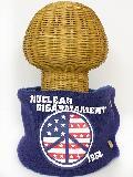 サイドボタン付き 裏地ボア ニットネックウォーマー(アメリカンPEACEマークプリント ネイビーブルー) WNBSA019R-89