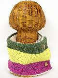 サイドボタン付き 裏地ボア ニットネックウォーマー(3色切り替え ローズピンク) WNBSA021R-44