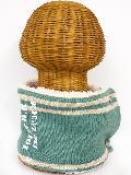 サイドボタン付き 裏地ボア ニットネックウォーマー(ライン入りロゴ フロッキープリント ダルグリーン) WNBSA022R-78