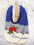 中生地パイル ルームカバーソックス  (スキー柄 ブルー)  RMA132R-39