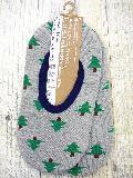 中生地パイル ルームカバーソックス (ツリー柄 グレー)  RMA130R-30