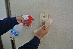 アルカリイオン電解水使用によるインターホンの掃除(清掃) ・除菌  東建社 東京