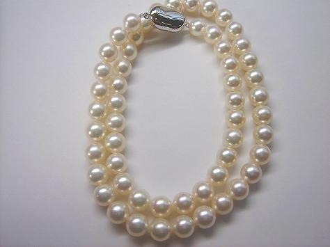 オーロラ花珠真珠ネックレス7.5〜7.0  8047