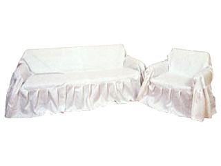 オールカバー 綿紋織(白) ソファベット・2人掛用