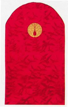 ドレッサーカバー 西陣織(家紋入り)地紋織 赤(金糸)/紫(銀糸)【受注生産】