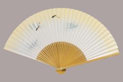 高級絵付扇子 7.5寸 35間 白竹中彫 三鮎