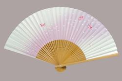 高級絵付扇子 6.5寸 35間 白竹中彫 金魚