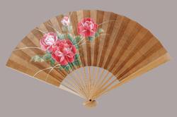 江戸風情扇子 7.5寸 15間 白竹 牡丹