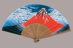 和柄扇子 7.3寸 30間 唐木中彫 北斎赤富士