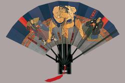 相撲浮世絵 飾り扇子 9寸 7間 房付 相撲絵図扇 小野川