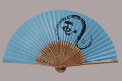 色雲龍扇子 7.5寸 35間 唐木中彫 色雲龍 風(紺)