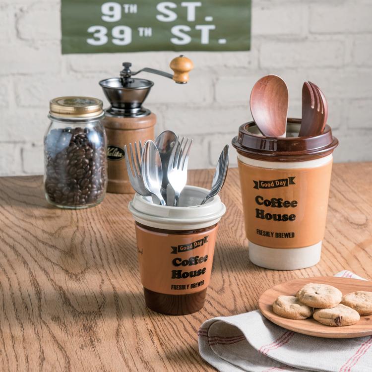 カトラリースタンド タンブラー ブラウン 食器入れ 陶器