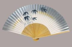 高級絵付扇子 7.5寸 35間 白竹中彫 竹