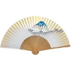 絵付扇子 7.5寸 35間 白竹中彫 富士