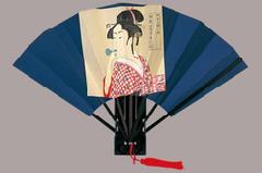 歌麿美人画 飾り扇子 9寸 7間 房付 版画扇 歌麿ビードロ(ポッピン)