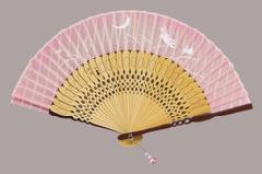 布貼 ファッション扇子 親茶塗 白竹 うさぎ(ピンク)