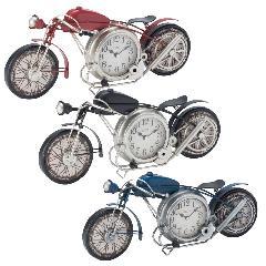 アメリカンバイククロック ブラック レッド ブルー 連続秒針 置時計 掛時計