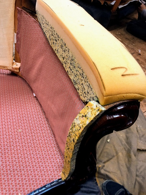 ロココ調アンティーク椅子 張り替え タッチアップ 傷お直し