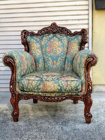 ロココ調アンティーク椅子 ソファ張り替え