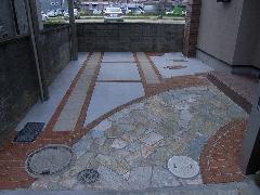 レンガ、貼り石の工事