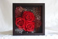 商品名:赤バラ3輪 壁掛け