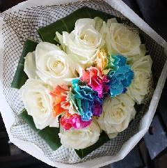 レインボー+白バラ