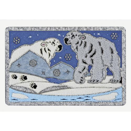 白クマと氷山(フェルト調)