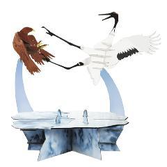 ツルと尾白鷲(飾り台付)