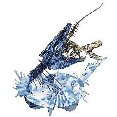 <越前和紙>モササウルスVSティラノサウルス