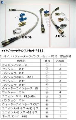 オイル/ウォーターラインフルセット PS13/RPS13