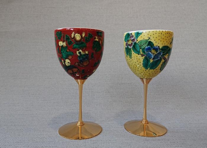 九谷焼ペアーワイングラス