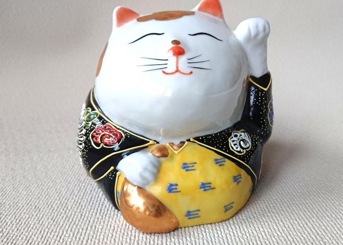 4号だるま招き猫金ふち九谷焼(座布団付)