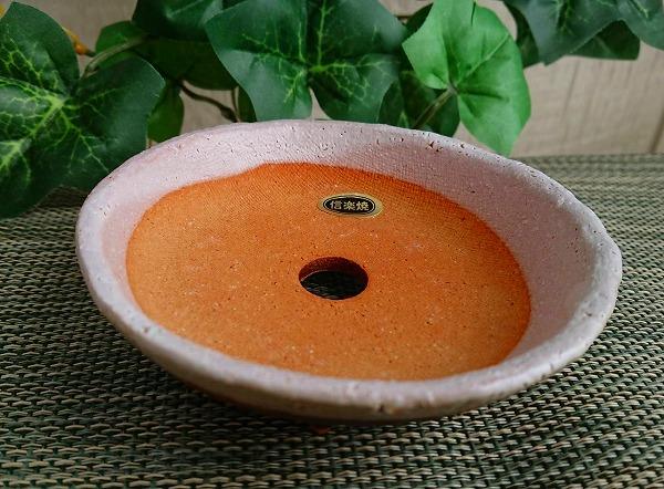 【信楽焼 植木鉢】白釉丸足付皿 3.5号 9071-12