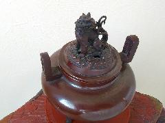 鋳銅 琢齋造 獅子香炉