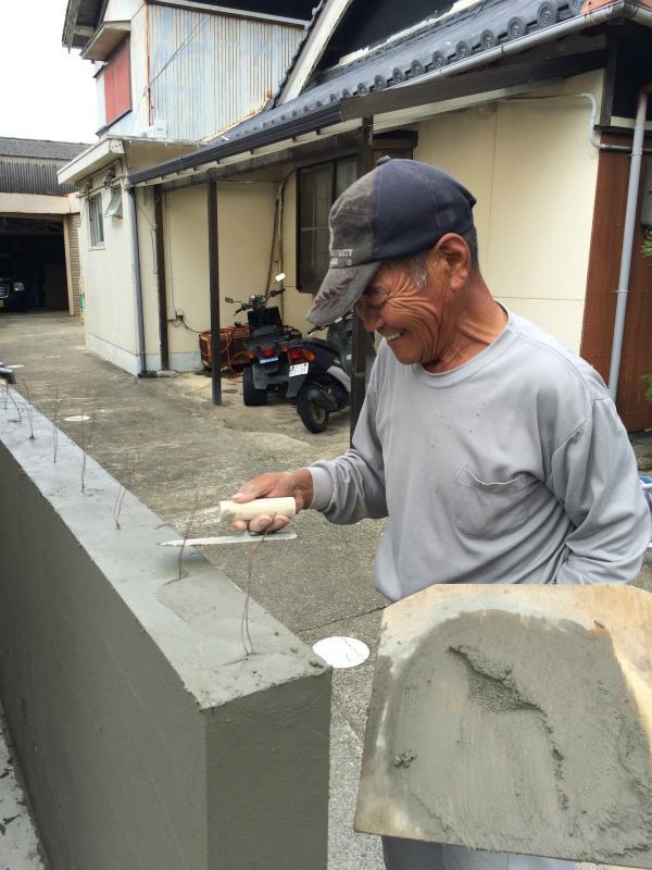 塀の修繕工事 モルタル塗り