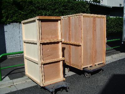 梱包終了、これから積み込み運搬作業。