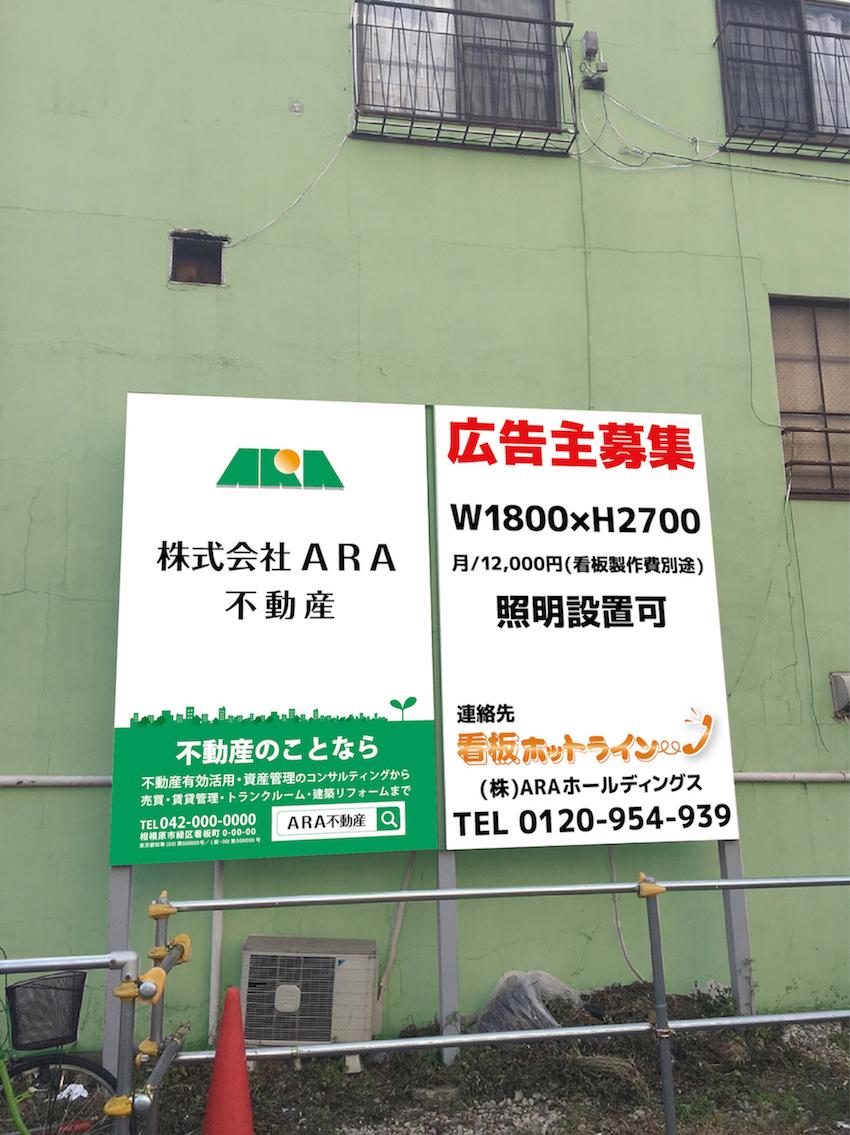 ARA不動産野立て看板|参考価格例 看板ホットライン