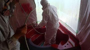 浴槽塗装研修風景