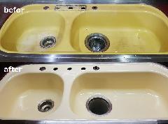 洗面ボウル再塗装施工