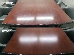 東京都中央区 会議テーブル補修・再塗装施工