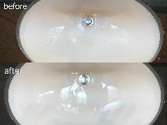 東京都豊島区 洗面ボウルヒビ(割れ)補修再塗装施工