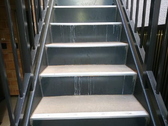 杉並区アパート 階段エフロレッセンス(白華)除去