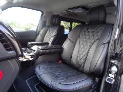 フロント用200系ハイエース IFUU高級欧州車デザイン3D成形バケットシートカバー ブラック×ブラック