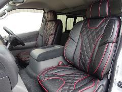 フロント用NV350キャラバン IFUU高級欧州車デザイン3D成形バケットシートカバー ブラック×ボルドー