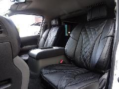 フロント用NV350キャラバン IFUU高級欧州車デザイン3D成形バケットシートカバー ブラック×ブラック